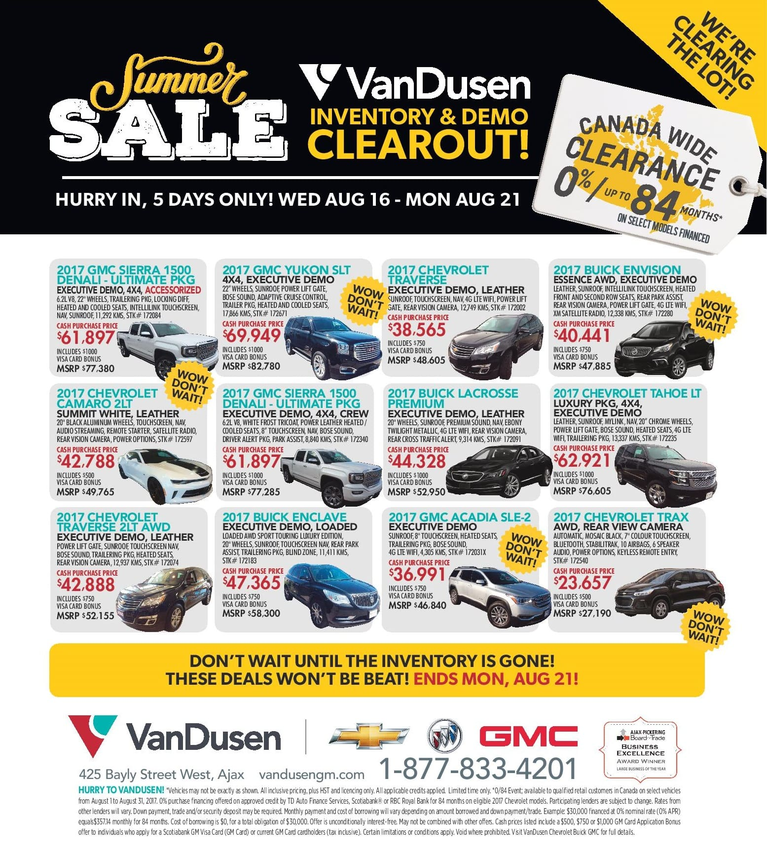Canada Wide Clearance August Sale Ajax Durham Region