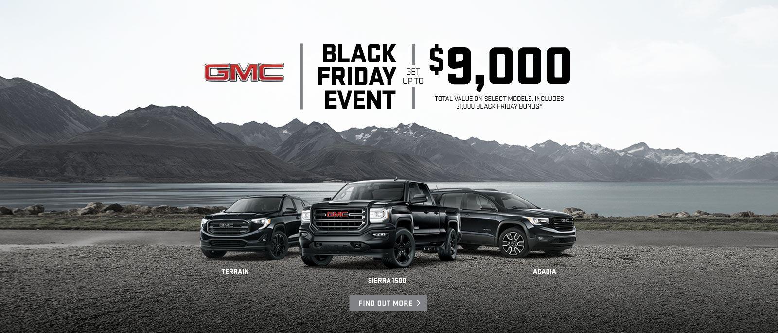 Black Friday Event 2018 GMC Sierra Terrain Acadia VanDusen Ajax 1600x868