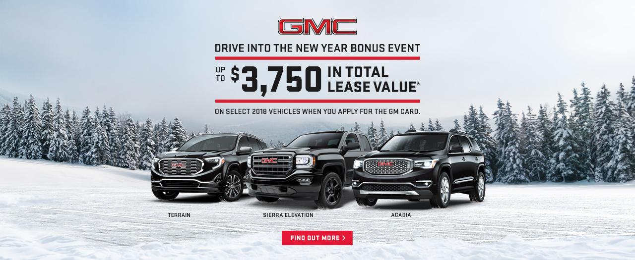 GMC Drive into the New Year Event Sale Discount Sierra Acadia Terrain Ajax Pickering Whitby Oshawa Durham Region Toronto ON