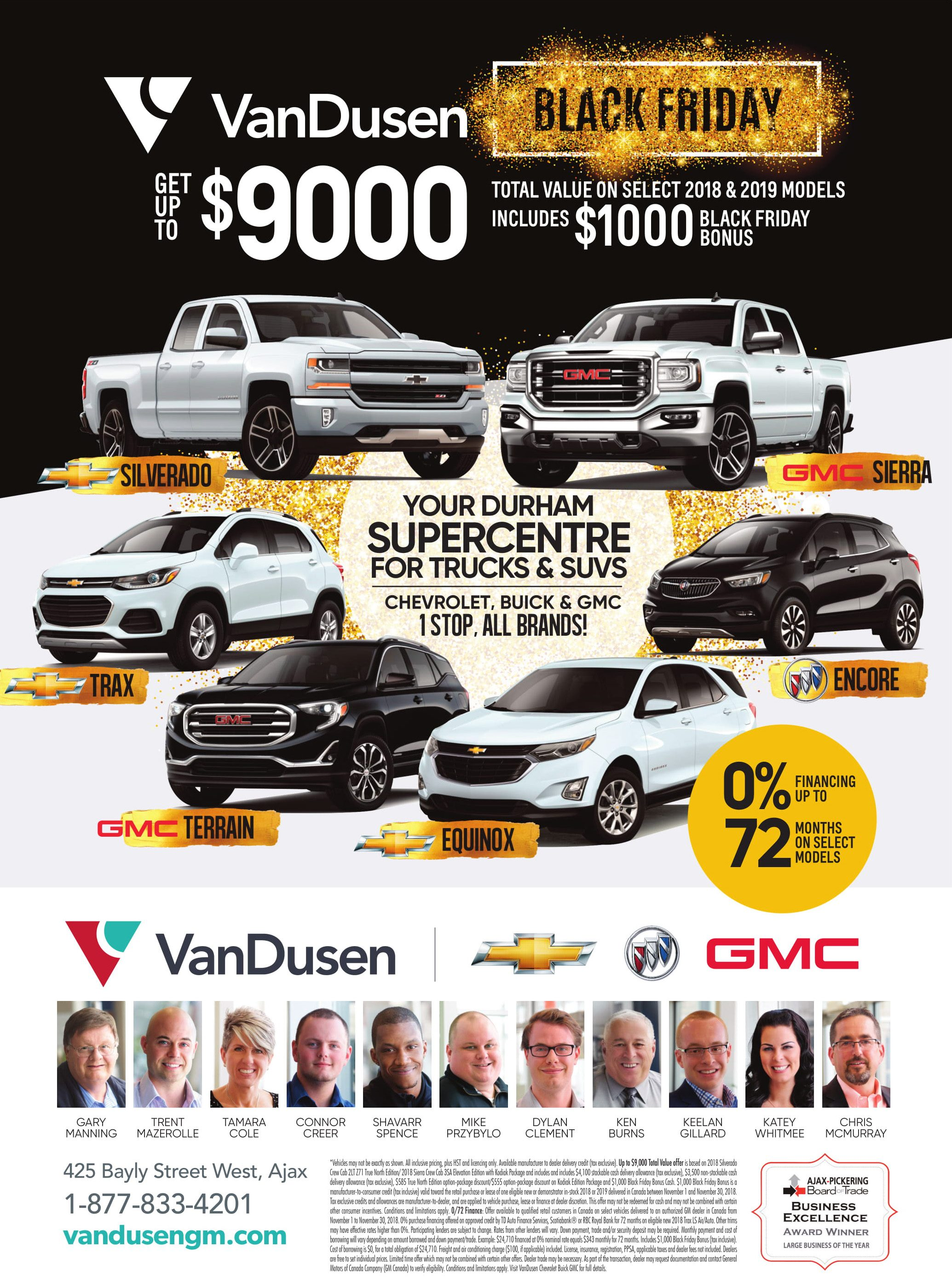 Black Friday Specials November Chevrolet Buick GMC Ajax Pickering Whitby Oshawa VanDusen Ontario
