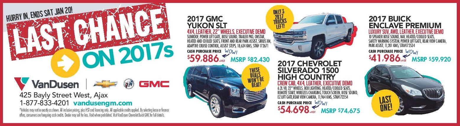 2017 Chevrolet GMC Buick Clearance Sale Ajax Pickering Whitby Oshawa Clarington Durham Region Toronto