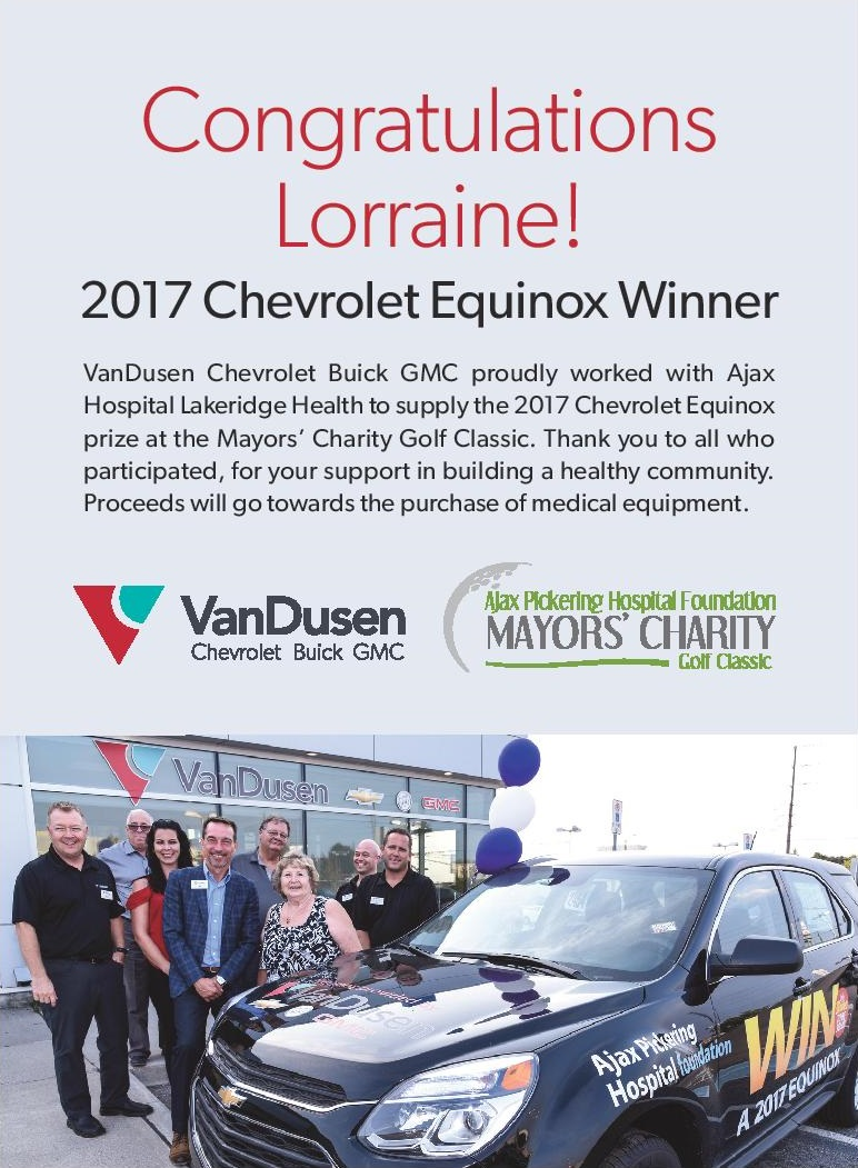 VanDusen Equinox Giveaway Ajax Hospital Lottery