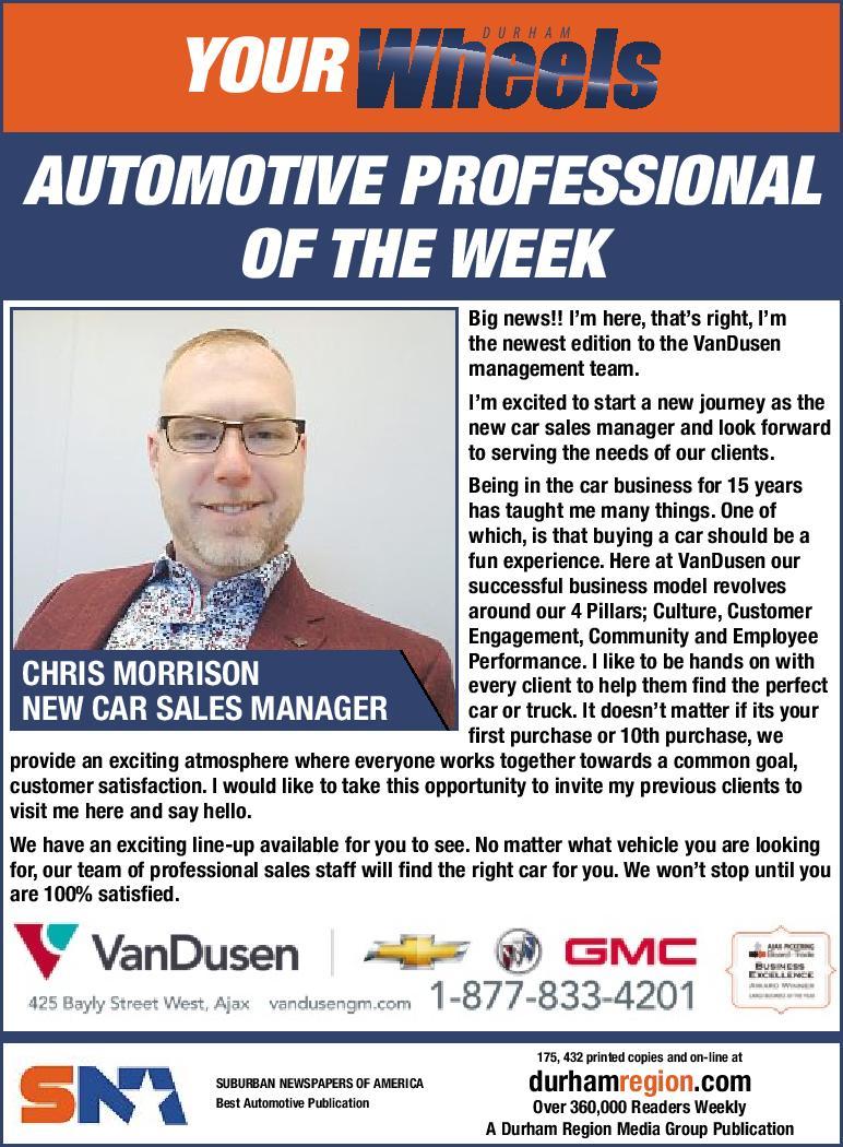 Automotive Professional of the Week Chris Morrison VanDusen Chevrolet Buick GMC