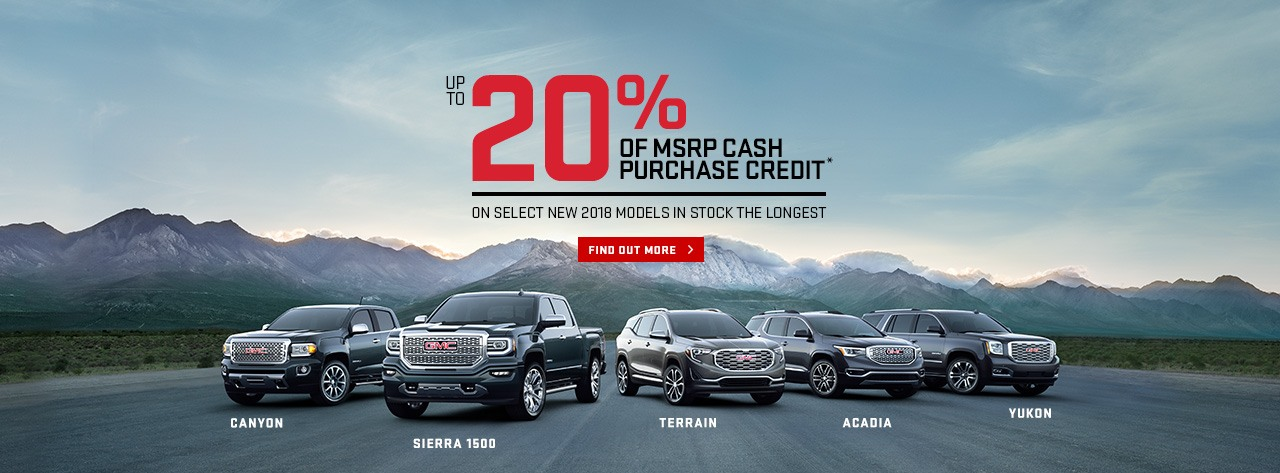 20% of MSRP Cash Purchase Credit Canyon Sierra 1500 Terrain Acadia Yukon Ajax VanDusen Durham Region