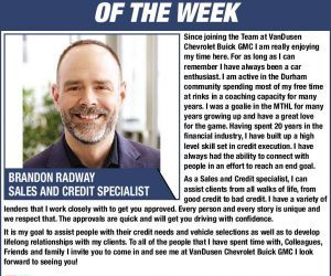 Brandon Radway -Automotive Professional of the Week VanDusen Durham Wheels Ajax Ontario