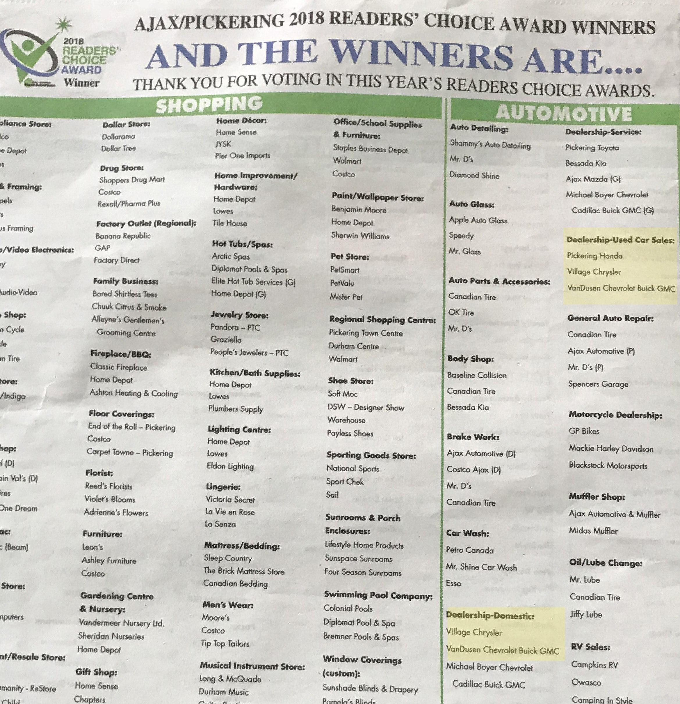 Ajax Pickering 2018 Readers' Choice Award Winners VanDusen Chevrolet Buick GMC Ontario cropped