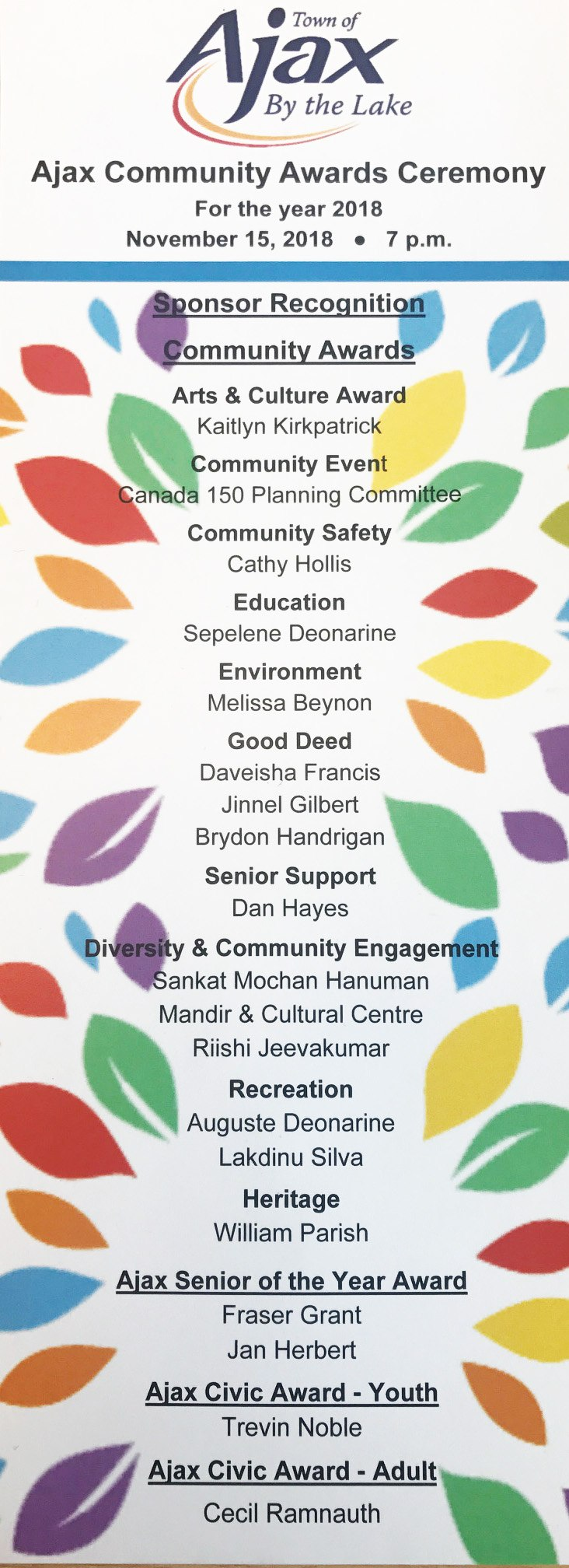 2019 Ajax Community Awards Ceremony Agenda