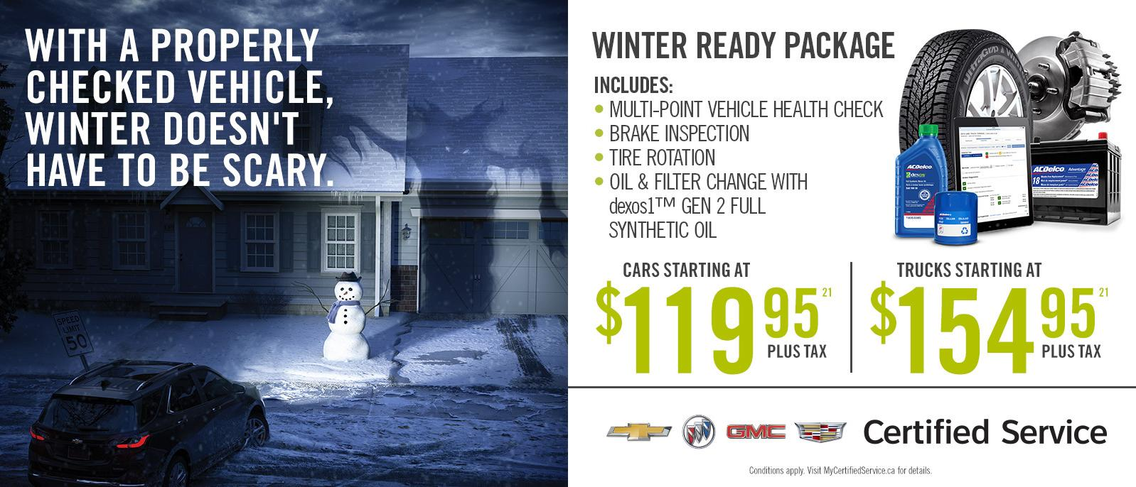 GM Winter Ready Package Chevrolet Buick GMC Oil Change Ajax Pickering Whitby VanDusen Ontario