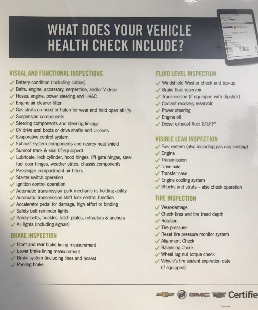 What does a GM Vehicle Health Check include?