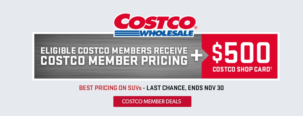 Eligible Costco Members can purchase select Chevrolet Buick GMC SUV's at a special members price at VanDusen's in Ajax, Ontario