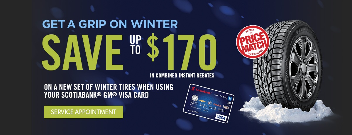 Save $170 on a set of winter tires when you purchase with your Scotia Bank GM Visa Card at VanDusen Chevrolet Buick GMC