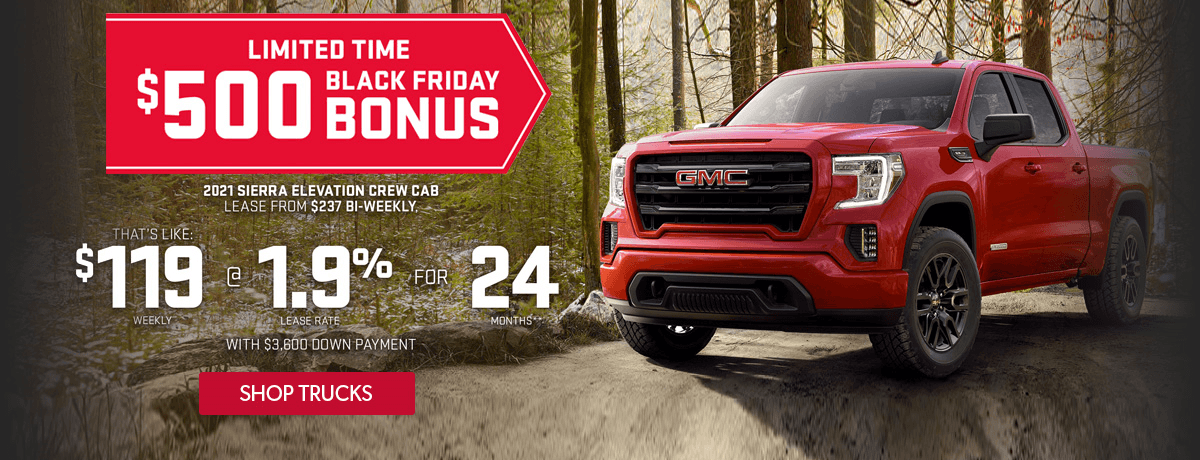 Lease a 2021 GMC Sierra for $238 bi-weekly for 24 months with $3600 down at VanDusen Chevrolet Buick GMC