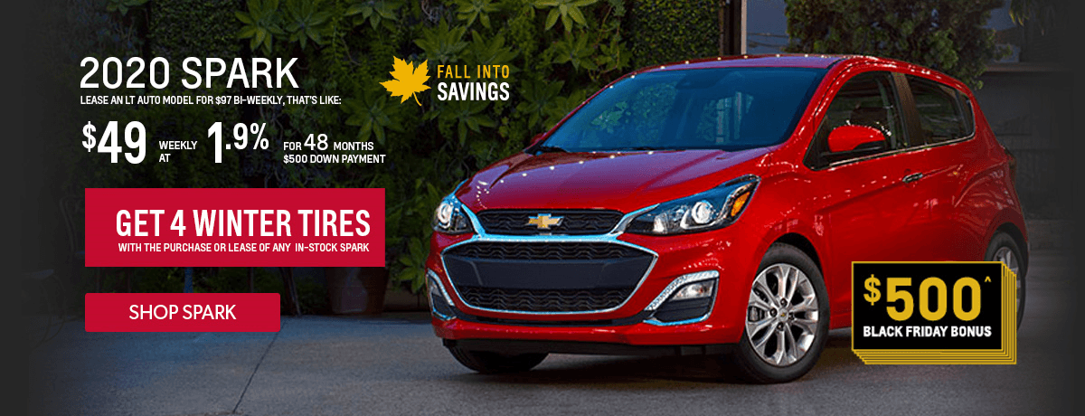 Free winter tires with the purchase of a 2020 Chevrolet Spark at VanDusen Chevrolet Buick GMC in Ajax Ontario